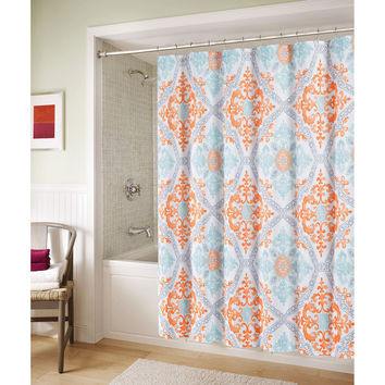 Blue And Orange Marcone Shower Curtain From
