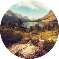 Scenic Glacier National Park Circle Wall Decal
