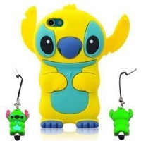 I Need 3d Blue Stitch & Lilo Ipod Touch 5 Soft Silicone Case Cover with 3d Stitch Stylus Pen for Itouch 5g 5th Generation - Yellow yellow