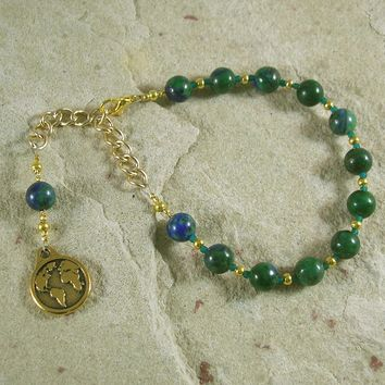 Gaia Prayer Bead Bracelet in Azurite/Malachite: Mother Earth, Mother of the Greek Gods