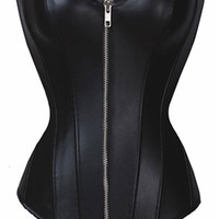 Black Leather Plus Size Corset Overbust Waist Training Cincher Sexy Corsets Bustiers Black/Red False Leather Gothic Punk Bustier Corset Black S-6XL = 1930281668