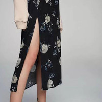 Black High Waist Floral Side Split Midi Skirt