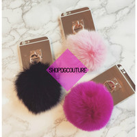 Plush Pom Pom Ball Mirror Surface iPhone Case 5S 6 6S 7