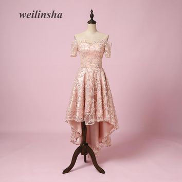 weilinsha New Arrival Short Evening Dresses Lace Short Sleeves Boat Neck A-line Prom Party Cocktail Gowns Vestido de Festa 2018