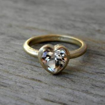 HEART of GOLD White Topaz and 14k Yellow Rose or by onegarnetgirl