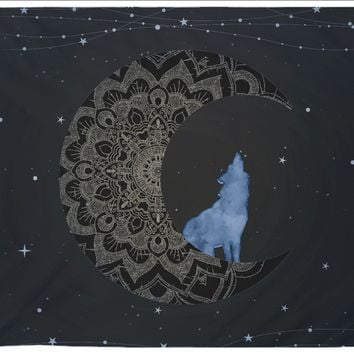 Moon Wolf Tapestry Blue Distressed Tapestry Wall Hanging Meditation Yoga Grunge Hippie