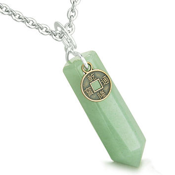 Amulet Lucky Charm Coin Crystal Point Green Quartz Pendant 22 Inch Necklace