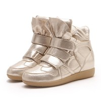 Bling Bling High Top Ankle Wedge Sneakers Platform Shoes for Women