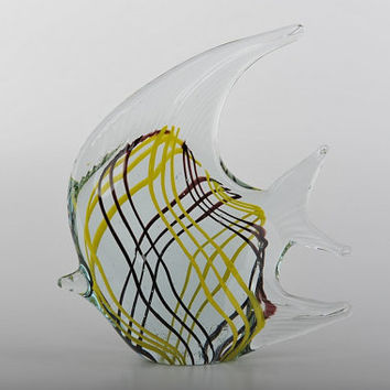 Glass Decoration of Clear Fish with Black and Yellow Lines Home Decor Murano Art Styled Blown Glass Figurine Colorful Statue