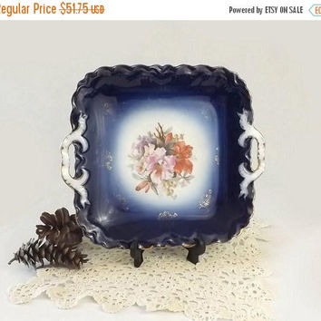 ON SALE - PM Bavaria Cobalt Flow Blue Tray, Vintage Double Handled Floral Serving Dish, Wedding Cookie or Cake Plate