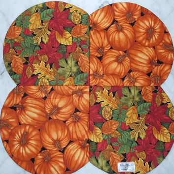 Pumpkin and Fall Leaves Table Topper Runner Quilt