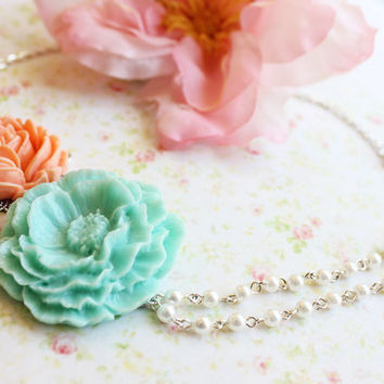 Turquoise Peony Flower Asymmetrical Necklace. Coral and Light Turquoise. Summer Weddings. Bridemaids Necklace. Beach Wedding. Fashion.