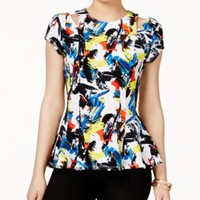 Marilyn Monroe Juniors' Printed Cold-Shoulder Peplum Top | macys.com
