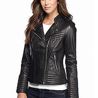 MICHAEL Michael Kors Leather Asymmetrical Zip Moto Jacket - Belk