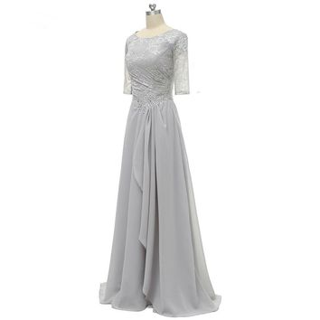 Ruffles Short Half Sleeves Scoop Neck Lace Formal Gown Pleat Mother Of the Bride Dress Silver For Wedding Party
