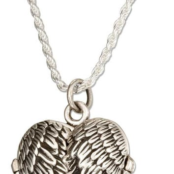 "STERLING SILVER 18"" ANTIQUED ANGEL WINGS HEART LOCKET NECKLACE"