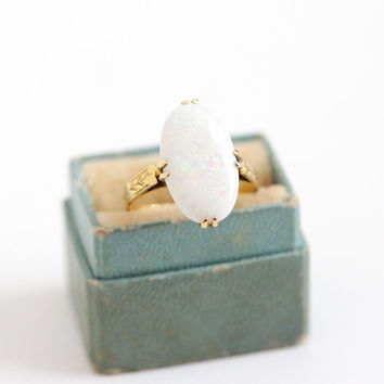 Vintage 14k Yellow Gold Large Created Opal Ring - Art Deco 1930s Size 6 Statement Fine Filigree Vine Embossed Jewelry