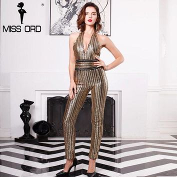 PEAPGC3 Missord 2017 Sexy Deep-V sleeveless strapless halter backless sequin jumpsuit FT4998