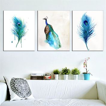 3 Pcs Oil Canvas Painting Peacock Wall Home Decor Blue Paintings For Living Room