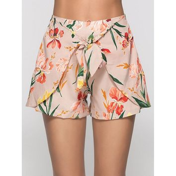 Floral Print Knot Shorts
