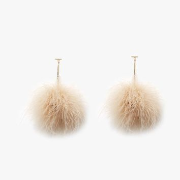 Tuleste / Marabou T-Bar Pom Pom Earrings in Nude