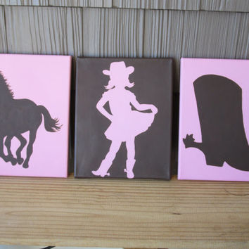 Cowgirl Paintings - Cowgirl, Boot, Horse - Wall Decor Art for Nursery, Kids Room - You Customize!  Western Art, Cowgirl Art, Country Girl