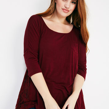 Relaxed Lace-Inset Top | Wet Seal Plus