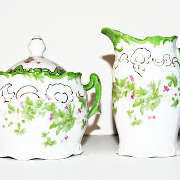 Elegant Vintage Sugar Bowl and Creamer in Bright Green and Pink - (100.75)