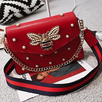Gucci New Popular Women Shopping Bag Leather Multicolor Bee Pearl Metal Chain Single Shoulder Bag Handbag Crossbody Satchel Red I13138-1