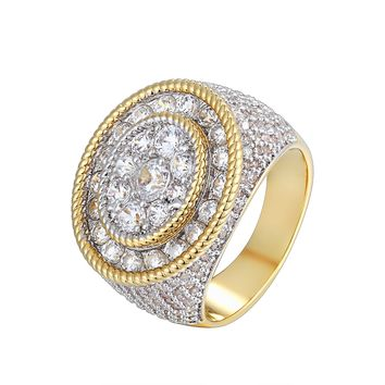 Men's Oval Solitaire Cluster Flower Iced Out Ring