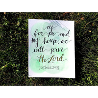 As For Me and My House We Will Serve the Lord Watercolor Painting Christmas Gift