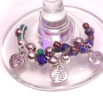 Beaded wine glass charms, Set of 6 Sing cloisonne silver hoops,  Antique blue beaded champagne glass charms, Coffee mug charm