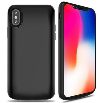 ESBON8C ALCLAP iPhone X Battery Case, 6000mAh Rechargeable Charger Case Portable Charging Case for iPhone X /10 (5.8 inch) Extended Case Battery/Lightning Cable Input Mode with Sync Through Technology