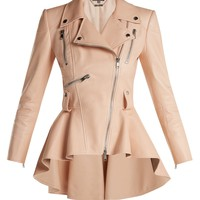 Peplum lambskin leather biker jacket | Alexander McQueen | MATCHESFASHION.COM UK