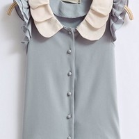 Sweet Color Block  Chiffon Shirt - OASAP.com