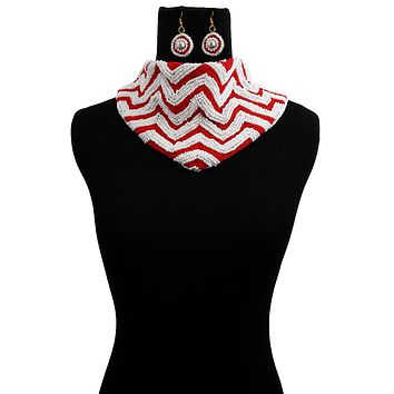 Handmade Embroidered Scarf Necklace Set with Chevron Pattern Red and White Beads