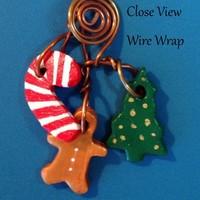 "Ornaments, Christmas, ""Tree Charms"", 18g Brass Wire Wrapped Ornament"