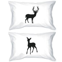 Buck and Doe Couple Pillowcases Deer Pillow Covers Christmas Gifts for Loved One