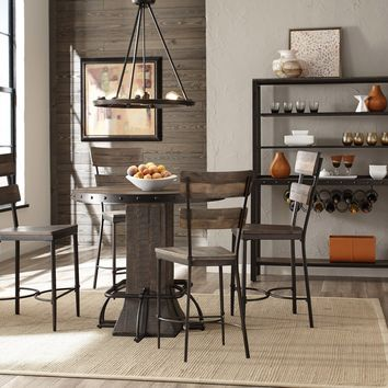 4022CDT5PC Jennings 5-Piece Round Counter Height Dining Set with Non-Swivel Counter Stools