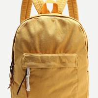 Yellow Zipper Front Canvas Backpack