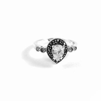 White Diamond Drop Sterling Silver Ring