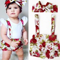Floral Children Infant Baby Kids Girls Rompers Shorts Pants Headband Summer Outfits Set Clothes Gir Romper