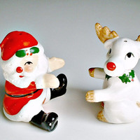 Santa Reindeer Shakers Hugging  Fitz and Floyd Japan Rudolph Red Nose Vintage Salt and Pepper