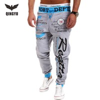 Jogger Pants Outdoors Joggers Men 2017 Male Letter Print Harem Pants Sweat Pant Men Trousers Wear Mens Jogger 3XL MCBVS