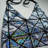 Holographic Shattered Mirror Silver/Black Rave V-Neck Halter Top Hologram EDC EDM