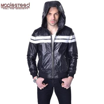 Factory Sheepskin Hooded Leather Jackets Men Genuine Leather Jacket Hoodie Black Soft Thin Mens Hooded Leather Coat Autumn ZH067
