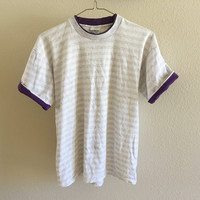 Striped Purple Collar Tee Vintage 90s Oversized L