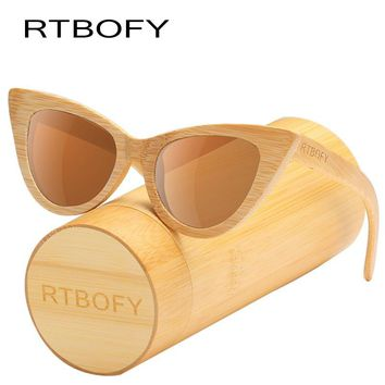 RTBOFY Wood Sunglasses Women Bamboo Frame Cat Eye Style Glasses Polarized Lenses Glasses Vintage Design Shades