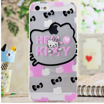 Cute Pink White Black Hello Kitty Bow Tie Collage Cartoon TPU Transparent Soft Phone Back Case Shell Cover for iPhone 5 5S SE