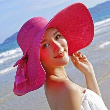 PEAP78W Stylish Newest Fashion Hot Summer Women's Ladies Beach Sun Hat Wide Brim Stripe Floppy Straw Casual Hat